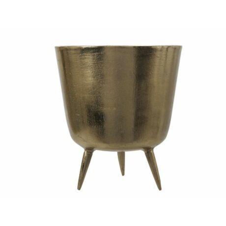 Kaspó lábbal aluminium 22.5x25cm arany @@