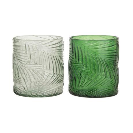 Mécsestartó levélmintás üveg 8x9cm v.zöld,zöld 2 féle