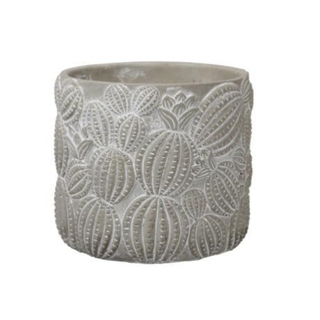 Kaspó kaktusz nyomattal agyag 14,5x14cm szürke @