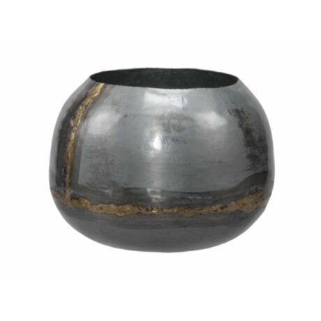 Kaspó fém O18x15cm szürke/arany