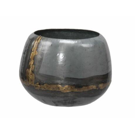 Kaspó fém O13x11cm szürke/arany