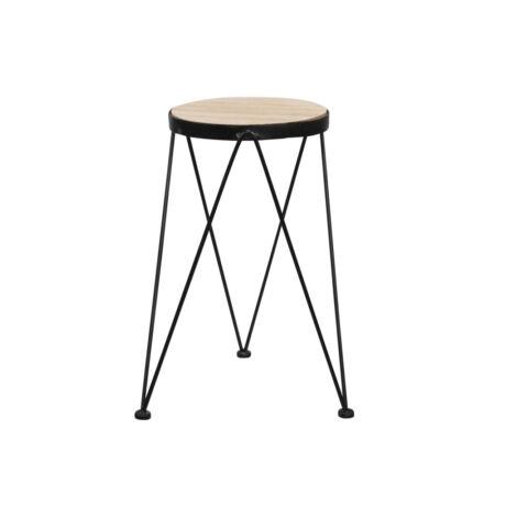 Asztalka fa,fém 22x52cm fekete, natúr