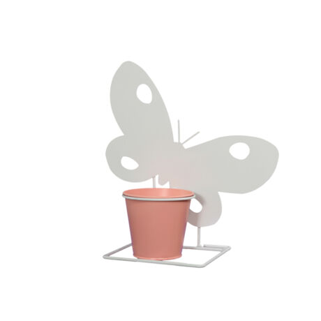 Kaspó pillangó bádog 26x27cm fehér,narancs