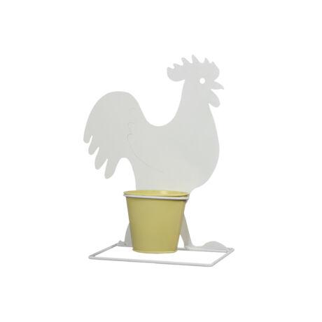 Kaspó kakassal álló fém 27x30 cm fehér,sárga