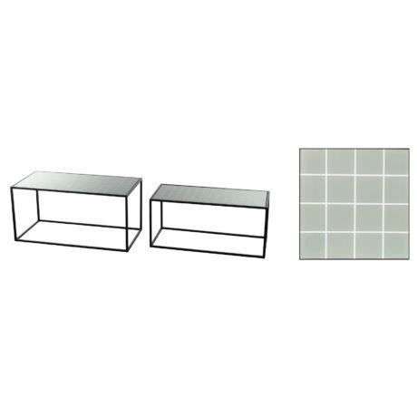 Asztal üveglappal fém 78x38x38cm fekete S/2