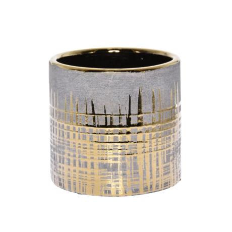 Kaspó arany mintával kerámia 11,5x11,5x11cm szürke @