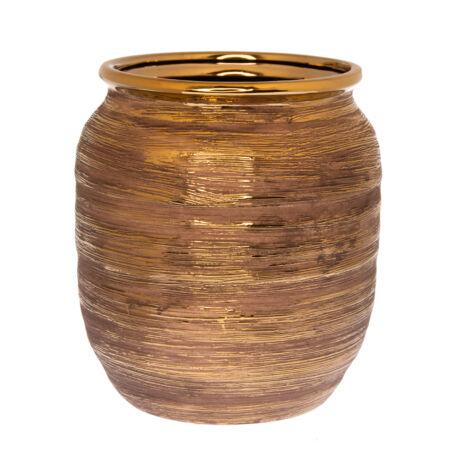 Váza rusztikus kerámia 17x17,5cm arany @