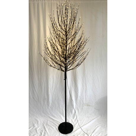 Fa gömb 580 LED világítással melegfehér műanyag 150 cm fekete