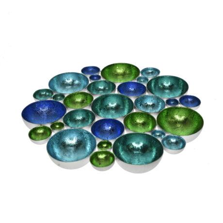 Mécsestartó kerek, asztali fém 30x30x3cm kék/türkiz