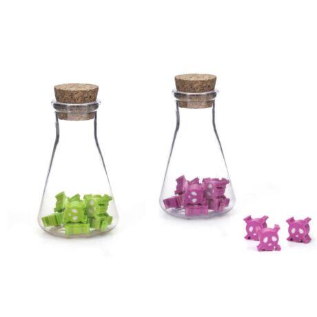 Radír, koponyás, üvegben rózsaszín/zöld