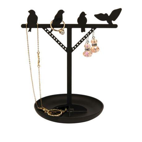 Ékszertartó állvány, madarak, fekete