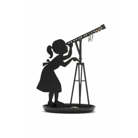 Ékszertartó állvány, csillagászlány, fekete