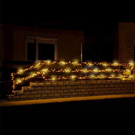 LED-es fényfüzér, 500 LED, melegfehér, állófényű, kültéri kültéri