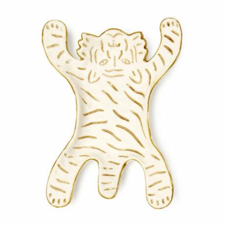Tál, tigris formájú, porcelán