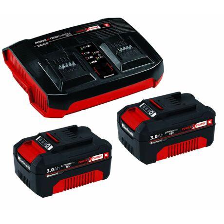 Einhell 2x 3,0Ah & Twincharger Kit akku és töltő szett (4512083)