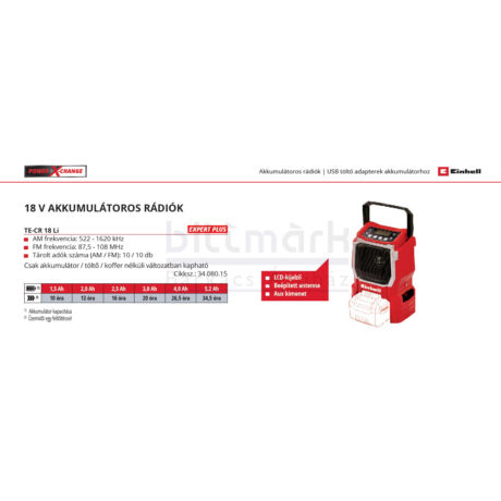 Einhell TE-CR 18 Li-solo rádió (3408015)